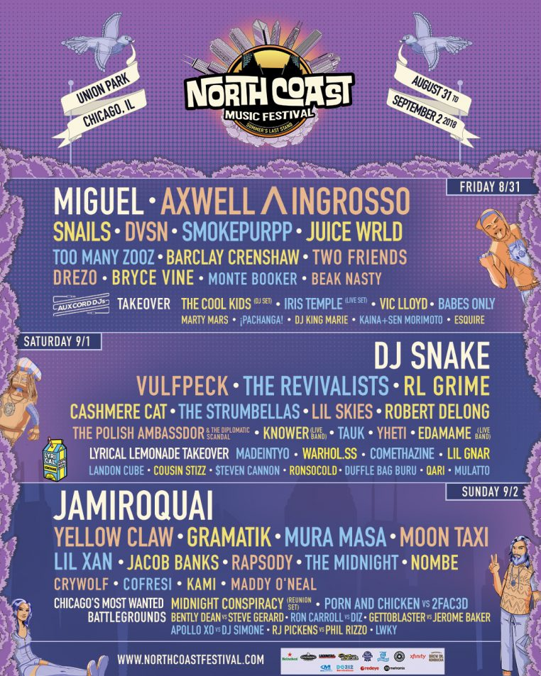 Facebook Instagram NCMF2018 Template 1080x1350 lineup 762x953 North Coast Music Festival 2018 Lineup Announced: Miguel, DJ Snake and Jamiroquai